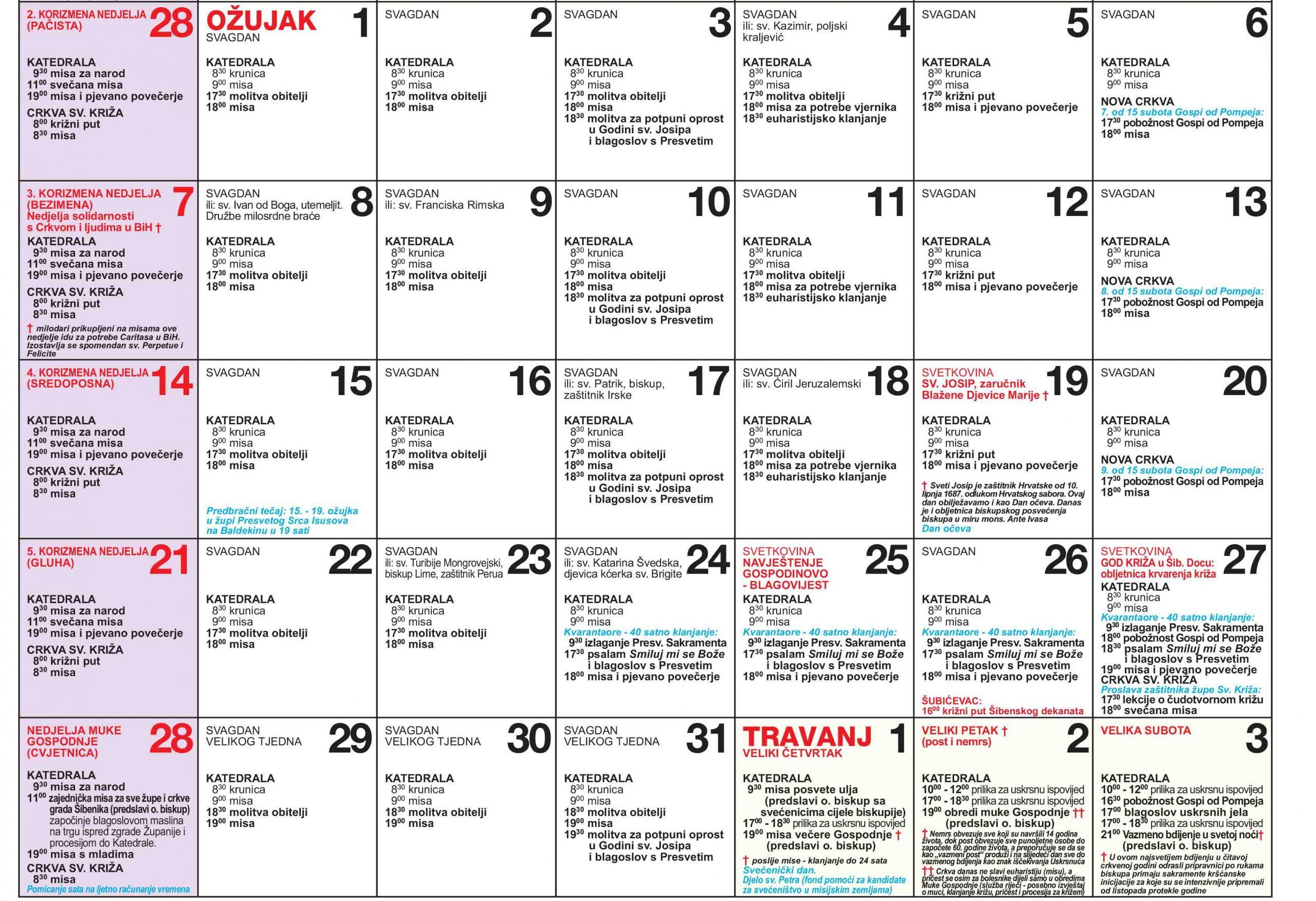 Korizmeni kalendar katedrale 2. dio